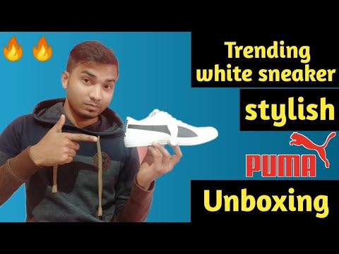 Unboxing of Puma shoe।  Puma white sneaker । Trending style