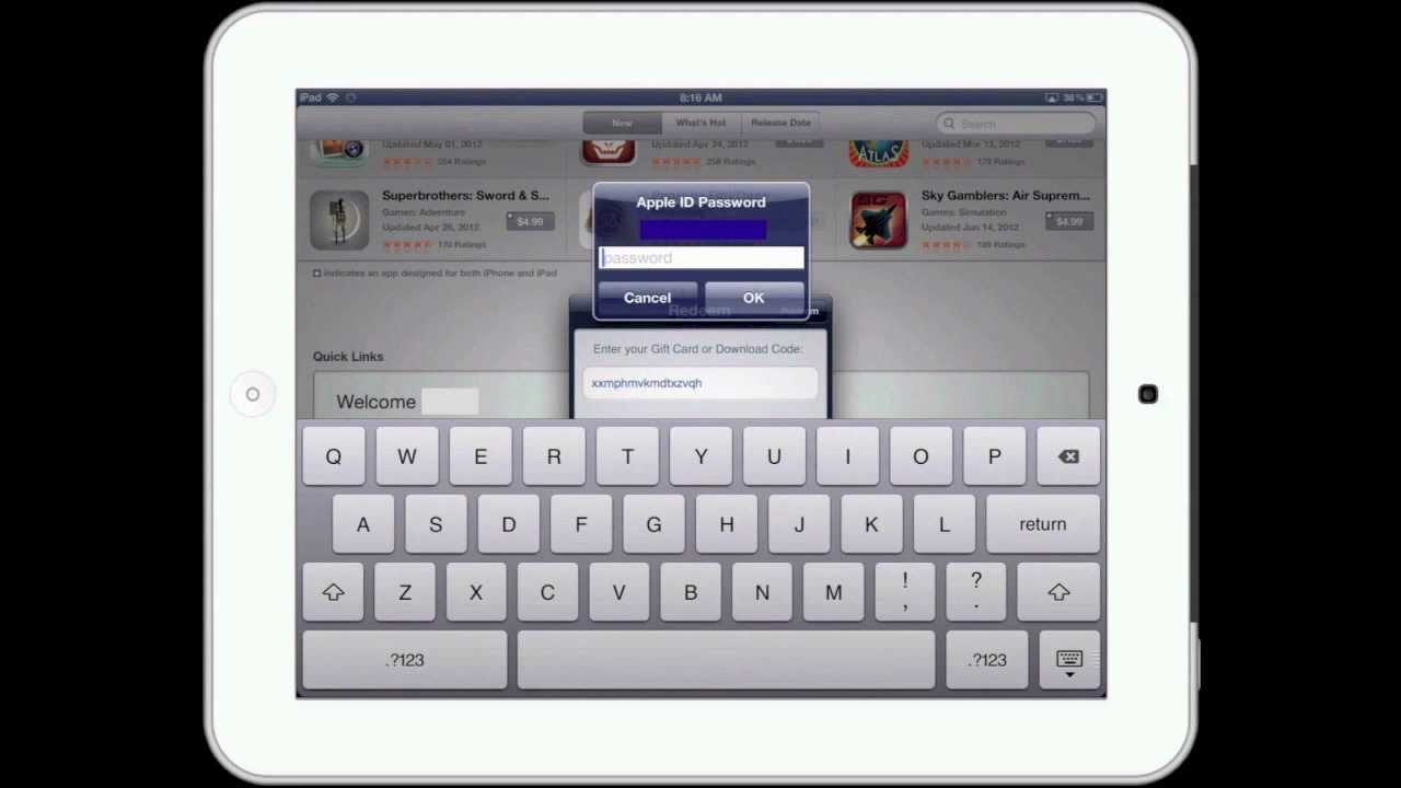 How To Redeem An iTunes Gift Card With An iPad - YouTube