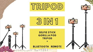 Bluetooth TRIPOD /SELFIE STICK / TABLE TRIPOD (3IN1 )   with remote   REVIEW   only 1200 INR