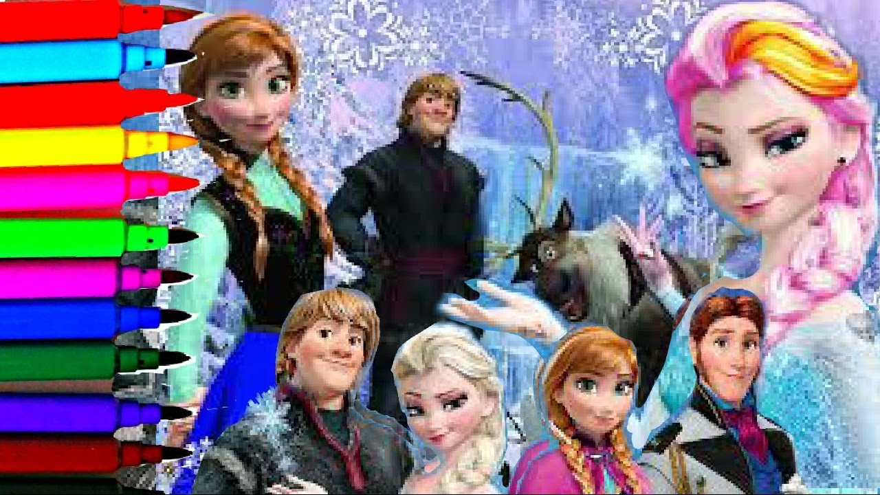 Frozen Coloring Pages Olaf And Sven : Disney frozen princess coloring book pages elsa anna kristoff olaf