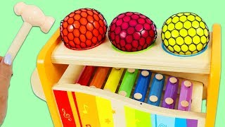 Learn Colors with Color Changing Stress Mesh Balls & Rainbow Xylophone Playset!