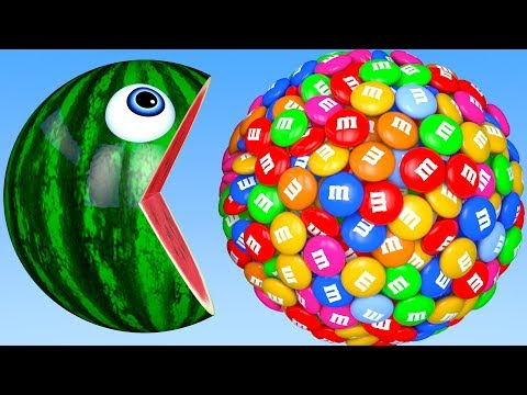 Learn Colors with PACMAN and Farm WaterMelon 3D m&m Street Vehicle for Kid