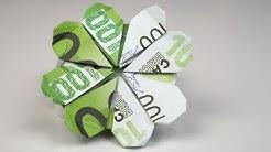 Geldgeschenk Geburtstag: KLEEBLATT aus Euro Geldschein falten