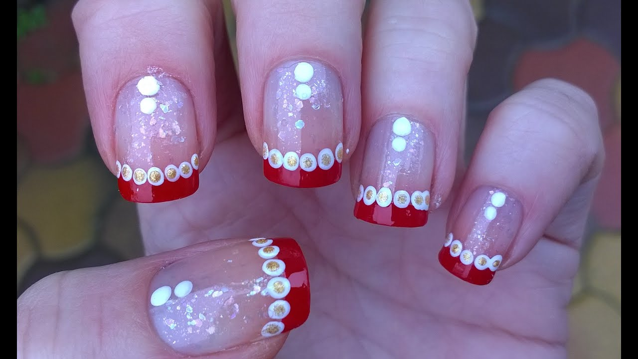 Cute Christmas Nail Art Festive French Manicure On Short Nails With Dotting Tool Tutorial You