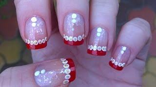 Easy Christmas Nail Art Designs: Diy French Manicure On Short Nails With Dotting Tool Tutorial