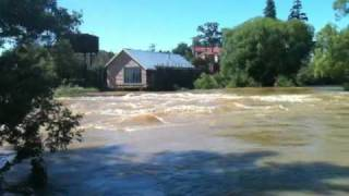 Australia Tasmania Deloraine flooded river through the middle of the village.MOV