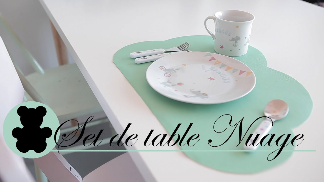 Diy d co enfant set de table nuage le petit spot cr atif youtube Set de table a personnaliser