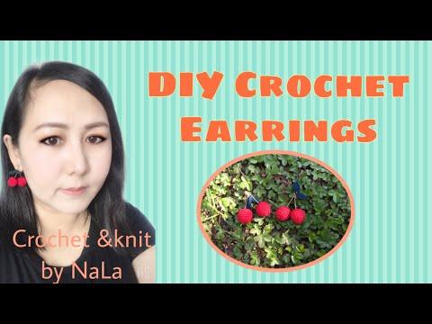 How to crochet earrings #cherry crochet # ถักต่างหูโครเชต์เชอร์รี่