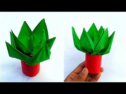 Mini Origami Pot Plant || How to make Paper Pot Plant (Very Cute) || DIY