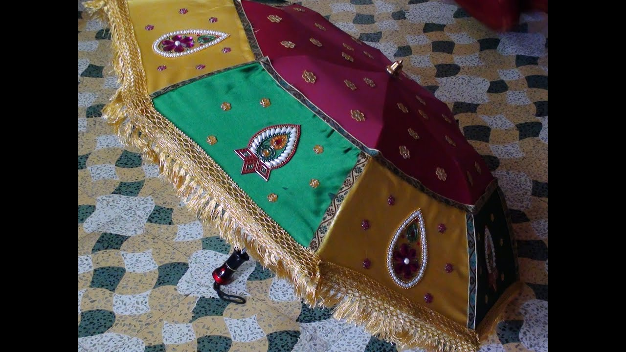 How to decorate an umbrella for indian weddings youtube for How to decorate