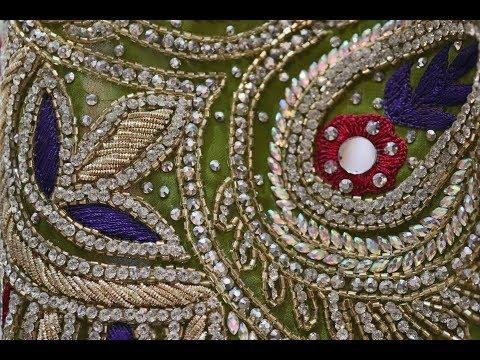 AR-394 Heena Wedding Wear Saree || Handcrafted || Mirror Work || Stone Work || Zardozi Work
