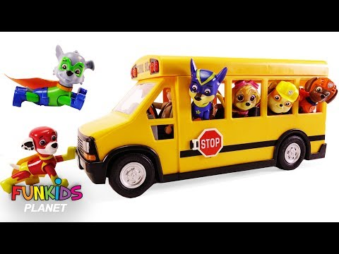 Learning Colors for Kids: Paw Patrol Rides School Bus to Super Pup School Wheels on the Bus Song
