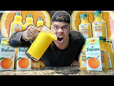 ORANGEIEST DRINK IN THE WORLD CHALLENGE!!! EXTREMELY DANGEROUS *99% PULP ORANGE JUICE*