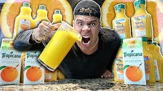 ORANGE-IEST DRINK IN THE WORLD CHALLENGE!!! (EXTREMELY DANGEROUS) *99% PULP ORANGE JUICE*