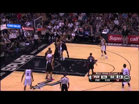 NBA, playoff 2014, Spurs vs. Trail Blazers, Round 2, Game 1, Move 18, Tony Parker, assist