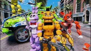 BUFF ANIMATRONIC CRIME FIGHTING TEAM! (GTA 5 Mods For Kids FNAF RedHatter)