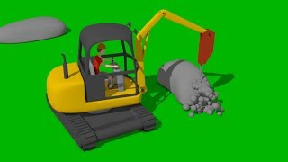 Mini #Excavator with Impact Hammer | Construction of an Obstacle Square for Kids and Babies