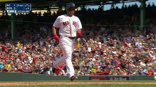 KC@BOS: Devers drives a solo shot to left