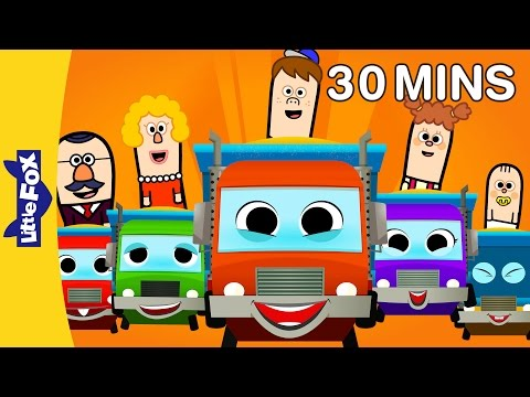 Five Big Dump Trucks and More Basic Concept Songs | Numbers, Colors, and Time | By Little Fox