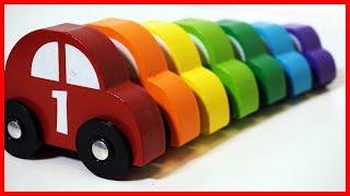 可愛木質小汽車玩具,寶寶兒童早教學數字顏色做遊戲