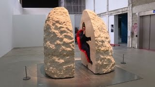 French artist is entombed in rock for a week