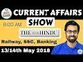 8:00 AM - CURRENT AFFAIRS SHOW 13/14th May | RRB ALP/Group D, SBI Clerk, IBPS, SSC, KVS, UP Police
