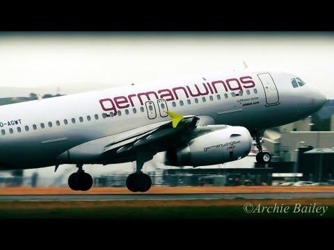 Germanwings A319 D-AGWT Land and takeoff at Edinburgh International Airport, EDI/EGPH.
