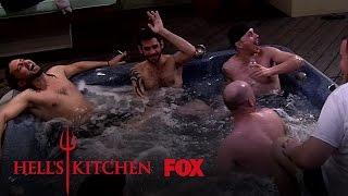 The Male Chefs Skinny Dip In The Dorm Hot Tub   Season 16 Ep. 2   HELL'S KITCHEN