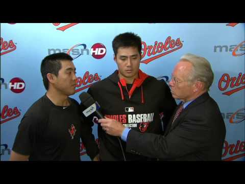 Wei-Yin Chen talks after earning the win over the Astros