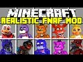 Minecraft REALISTIC FIVE NIGHTS AT FREDDY'S MOD! | FREDDY, FOXY, BONNIE AND MORE! | Modded Mini-Game
