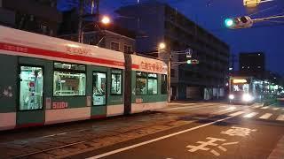 広島電鉄5100形5110号&5000形5012号 宇品三丁目発車