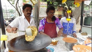 "Indian Street Food: Aloo, Palak, Paneer / Cheese Paratha at ""Balaji Centre"" Lunsikui, Navsari, India"