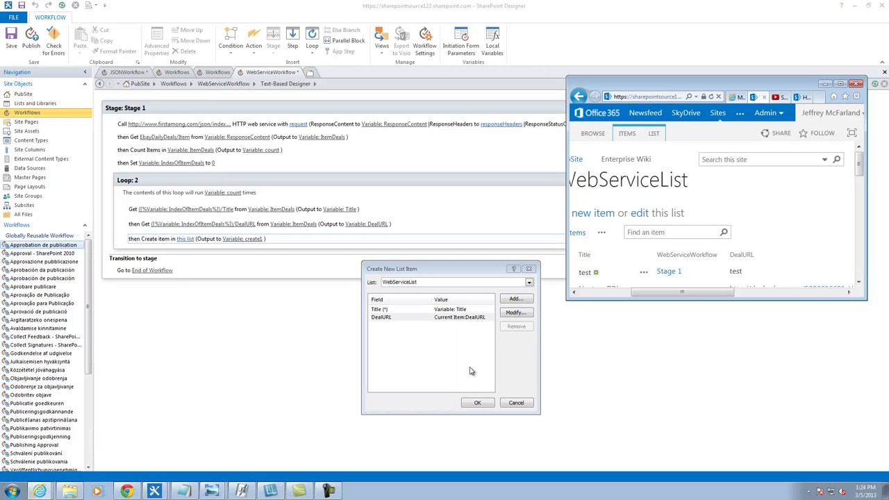 Sharepoint Designer 2013 Workflow Action Call Http Web Service Part 2 Youtube