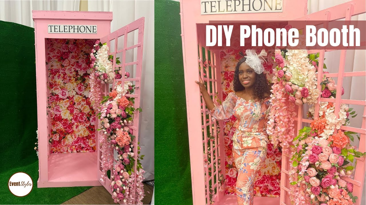 HOW TO BUILD A PHONE BOOTH: Cute Backdrop Ideas - Pink Phonebooth with Flowers