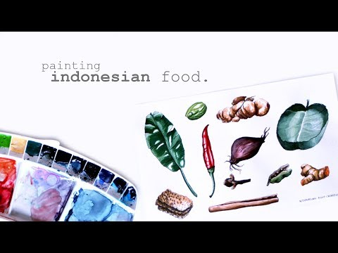 "Watercolor Painting Process ""Indonesian Food"""