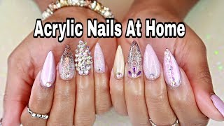 Watch Me Do My Own Valentine's Day Nails | STILETTO NAILS W/ BLING