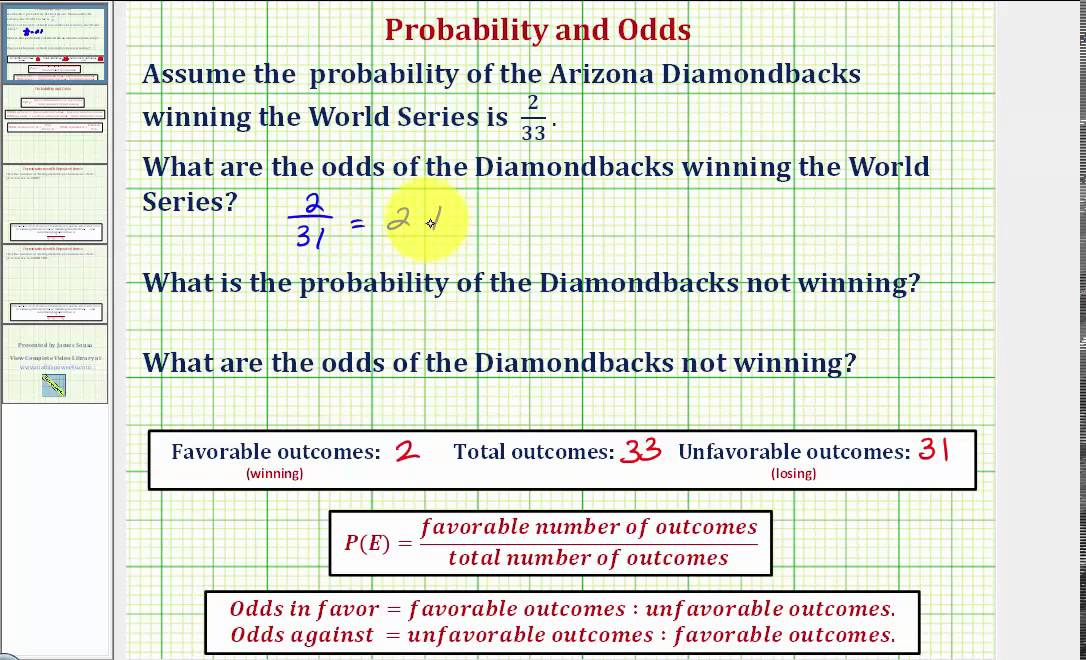 Ex Determine Odds In Favor and Odds Against from a Given – Probability and Odds Worksheet