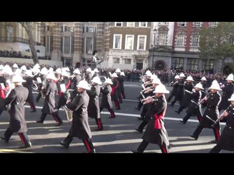 Remembrance Sunday 2016, arrival of the Royal Marines & Royal Navy