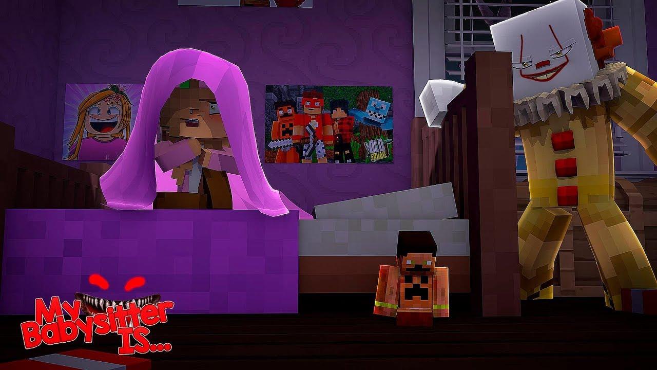 MY BABYSITTER IS.... IT THE CLOWN   Minecraft Little Kelly