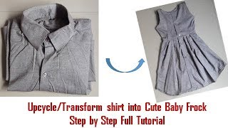 Upcycle/Transform Old shirt into Cute Baby Frock Step by Step Full Tutorial