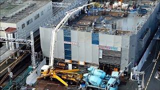 7/30UP 生コンミキサー車がドンドン来てポンプ車でグイグイ圧送!阪急淡路駅 工事現場