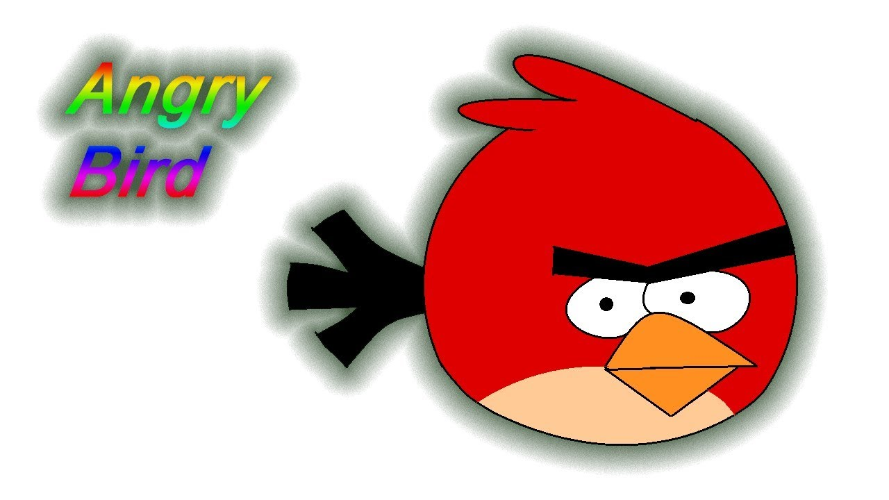 Draw angry bird sketch in ms paint