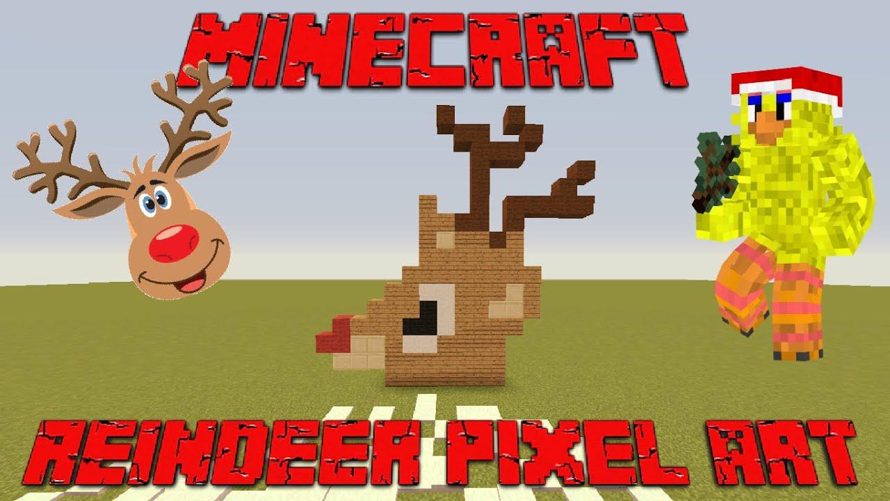 MINECRAFT CHRISTMAS PIXEL ART | REINDEER PIXEL ART - YouTube