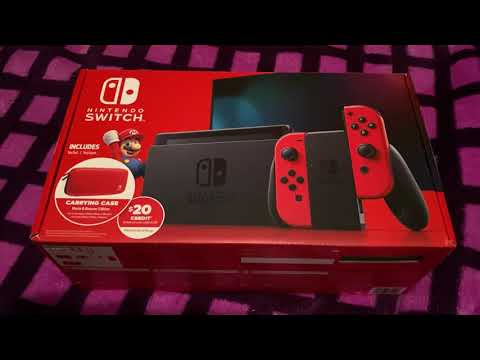 New Nintendo Switch V2 Walmart Exclusive Bundle Unboxing Review Red JoyCons Carrying Case EShop Card