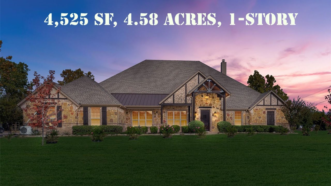 4,525 SF, 1-Story on 4.58-Acre, 2 Master Bdrms, Texas Ranch-Style Home NE of Dallas for Sale, $1.5M