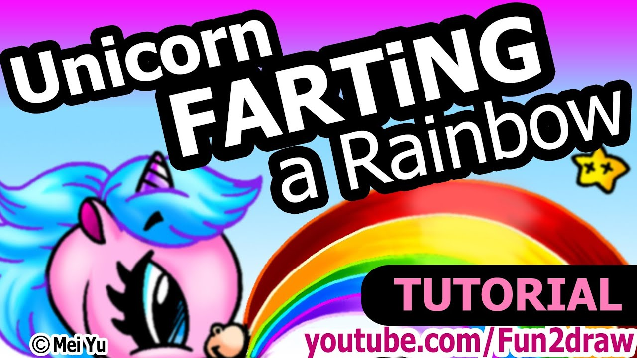 Unicorn FARTING a Rainbow - Drawing Tutorial Version - YouTube