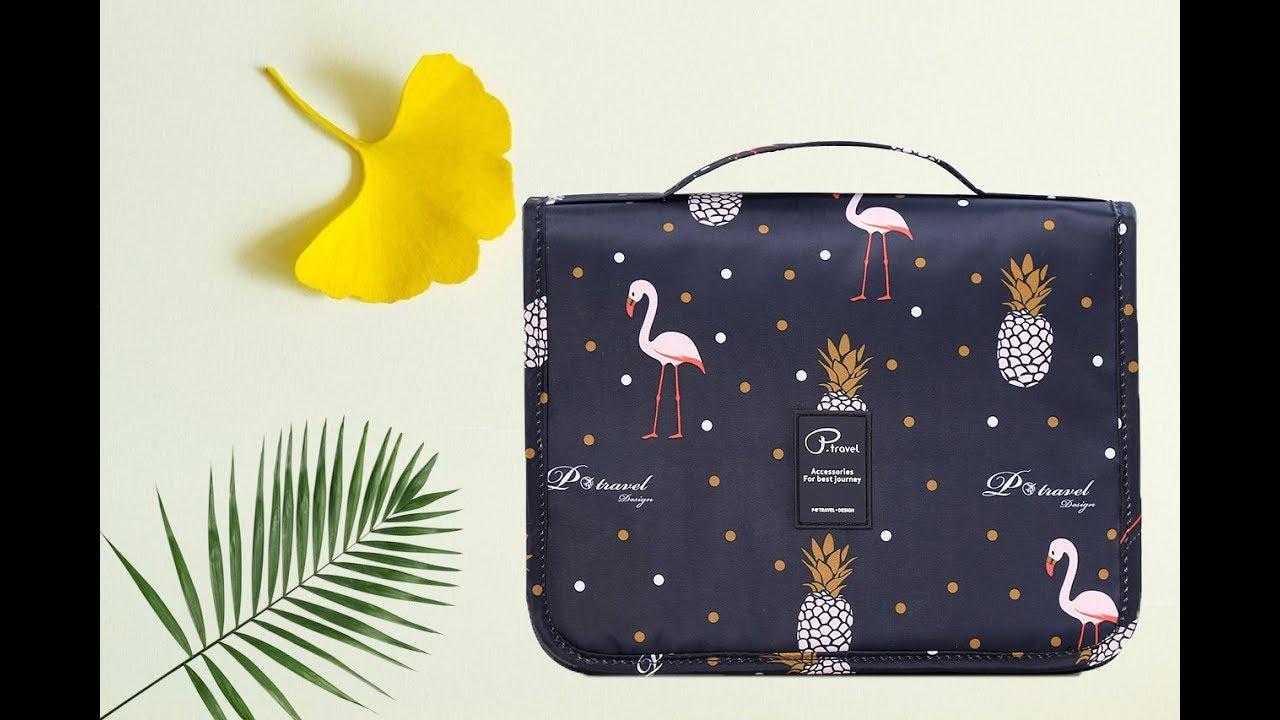 P.travel Toiletry Bag PT1719 Black Flamingo