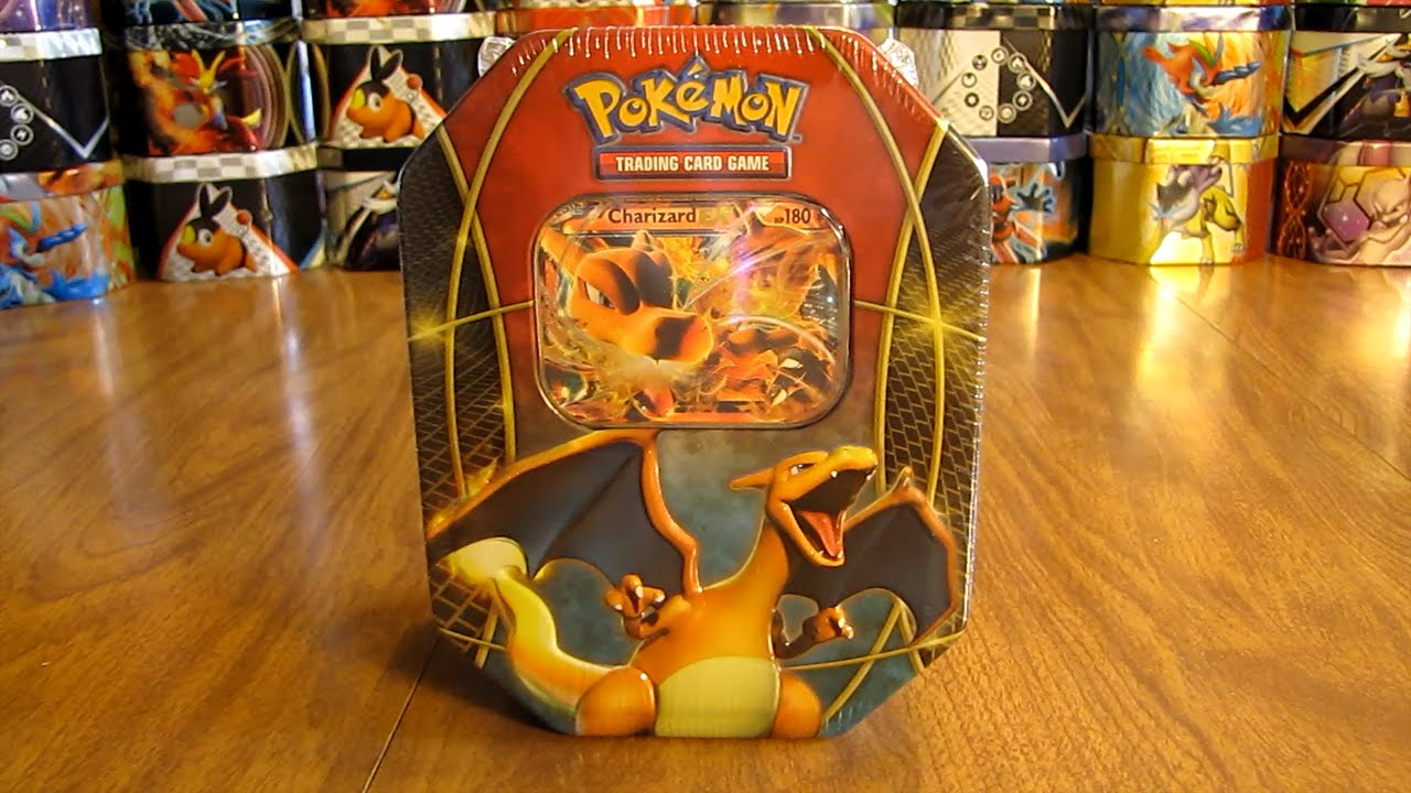 pokemon charizard ex tin opening youtube