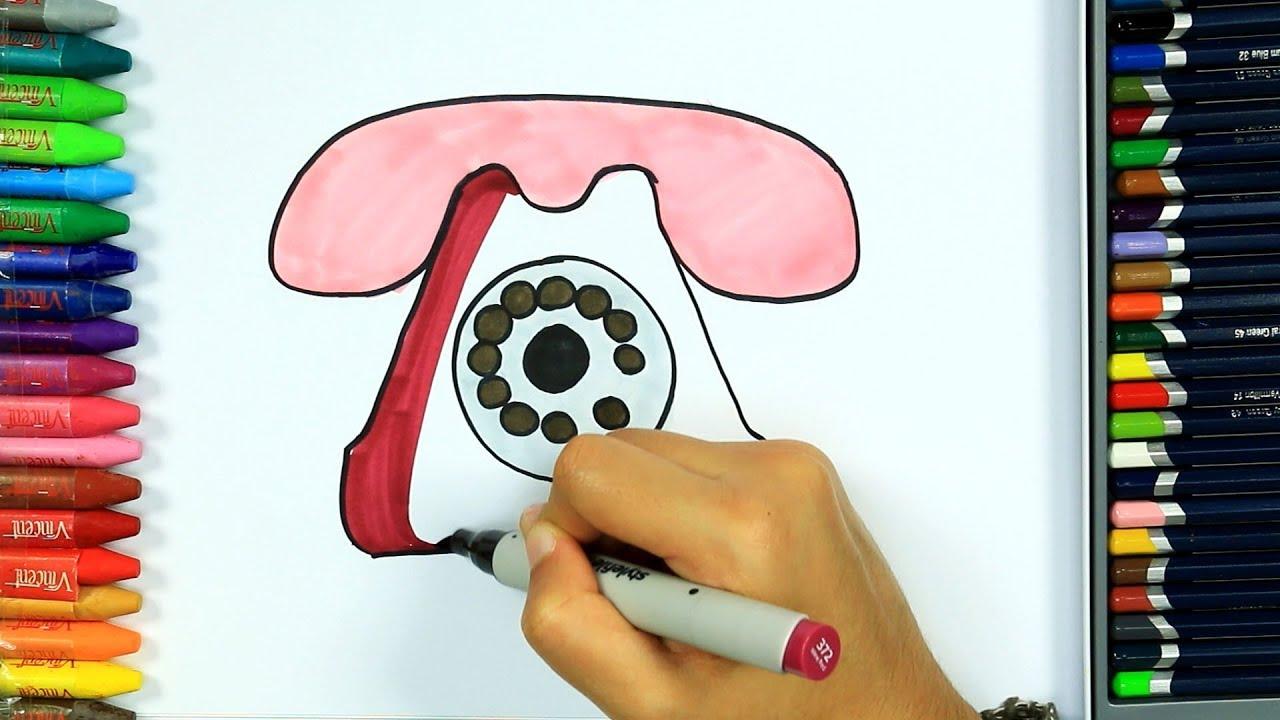 Telefon Nasıl çizilir Boya Boya çizelim Boyayalım çocuklar