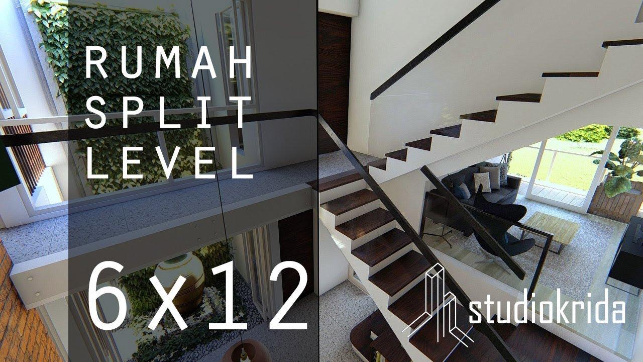 DESAIN RUMAH SPLIT LEVEL DI 6X12 M  YouTube